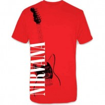 NIRVANA - RED GUITAR MENS TEE